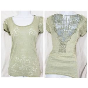Sage green Paisley burnout crochet short sleeve Sm